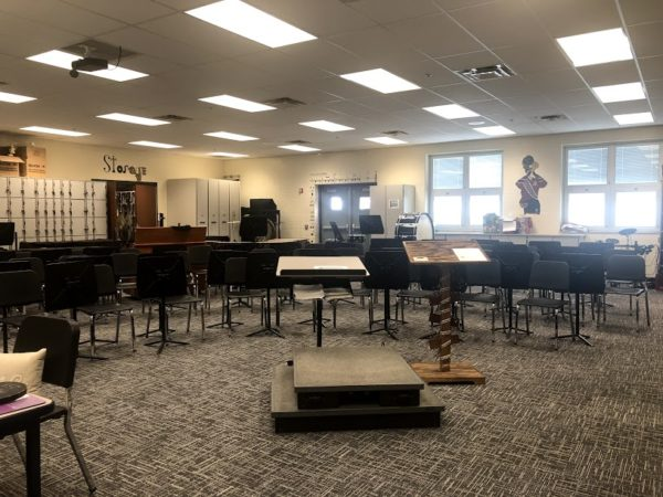 The first view when entering the band room.