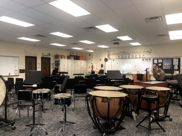 The view of the band room from the back doors.